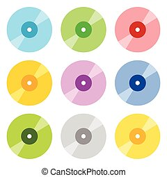 Flat CD / DVD icons in 9 color