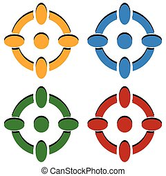 Crosshair / target mark / reticle icons in 4 color