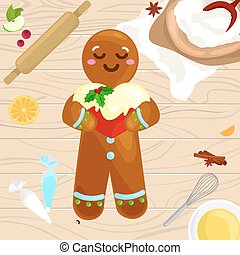 process of preparing Christmas treats and sweets on a wooden...