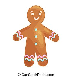 christmas cookies smiling gingerbread man decorated with...