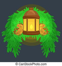 Lantern stands on the spruce branches and candle light shines warm on pine cones, vector illustration for a Merry Christmas and Happy New Year