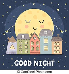 Good night card with smoon and city landscape