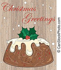 pudding on wood - a vector illustration in eps 8 format of a...