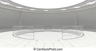 Empty modern futuristic room - Empty white modern futuristic...