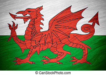 flag of Wales or Welsh banner on abstract background