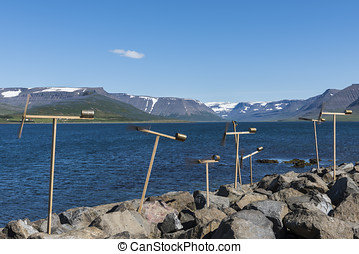 Small toy wind mills in Thingeyri Iceland - Small wooden toy...