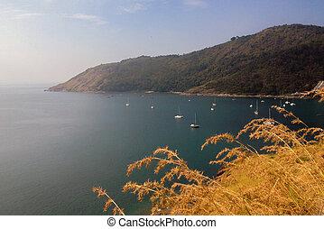 View to Yanui Beach and Koh Kaeo Noi on Phuket island,...