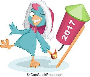 Blue Rooster Santa symbol 2017 to light fireworks rocket....