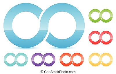 Infinity symbol in several color. Icon for continuity, loop,...