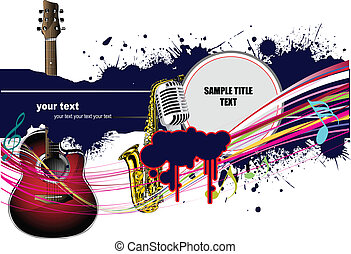 Abstract composition with music images Vector colored...