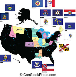 Flags of the USA states by alphabet. Letters I-M. Vector...