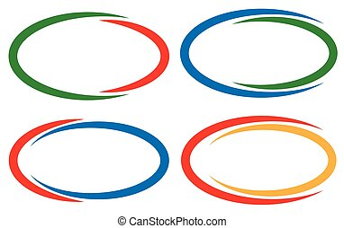 Colorful circular frames / banner elements. Set of 4...