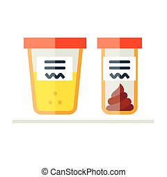 Vector illustration of urine and fecal analysis. Flat style....