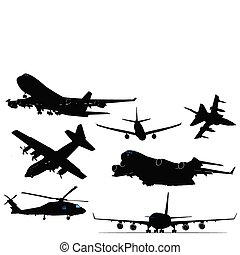 Seven black and white Airplane silhouettes.