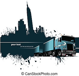 Grunge blot banner with town and truck images. Vector...