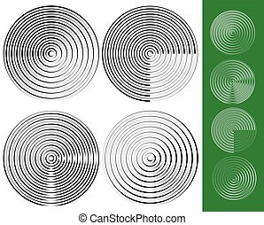 Concentric circles, rings geometric element. Set of 4...