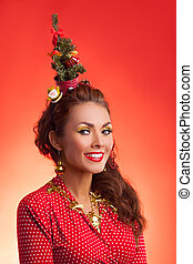 New Year and Christmas holidays funny image with model - New...