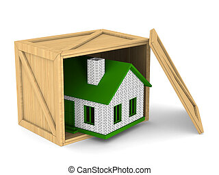 wooden box with house. Isolated 3D image