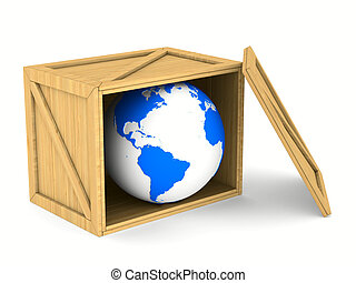 wooden box with globe. Isolated 3D image