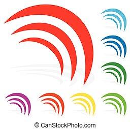 Signal, radiation, emission, waves shape in 8 color