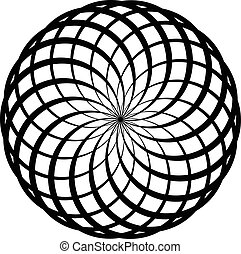 Circular geometric spiral. Abstract monochrome design...