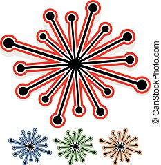 Puntos, fin, Extracto, aleatorio, líneas, elemento,  radial