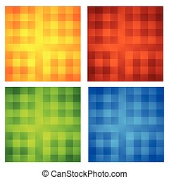 Set of 4 bright, colorful pattern tiles.