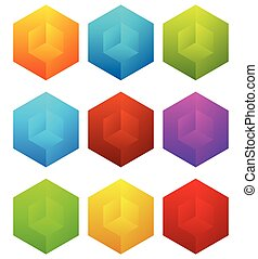Set of cubes with holes in 9 bright color