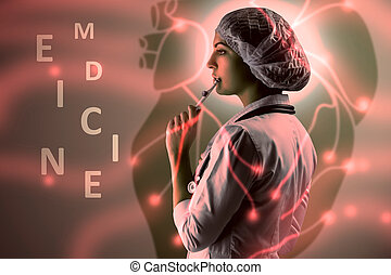 Collage on scientific topics. Young female doctor standing against heart background