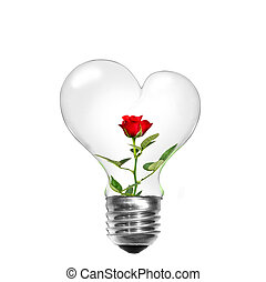 Natural energy concept. Light bulb in shape of heart with...