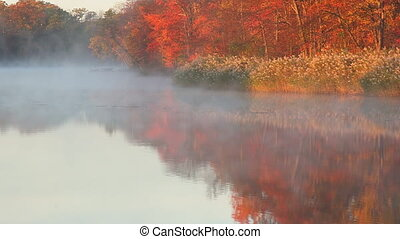 Autumn mist on the river in early