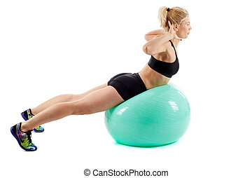 Fitness girl workout with gym ball - Fitness girl doing...