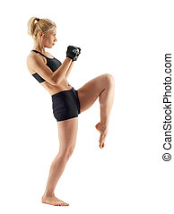 Female MMA fighter on white