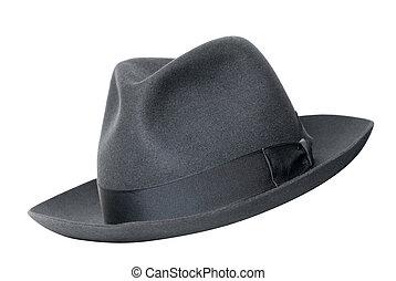 Retro, negro, sombrero, aislado, blanco