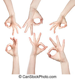Hand OK sign isolated on white