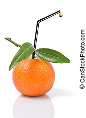 Tangerine with green leaves and straw isolated on white