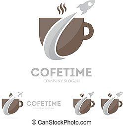 Vector of rocket and coffee logo combination. Airplane and...