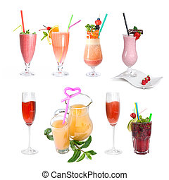 set of various cold cocktails isolated on white - set of...