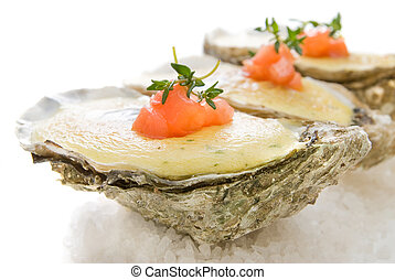 oysters with sauce