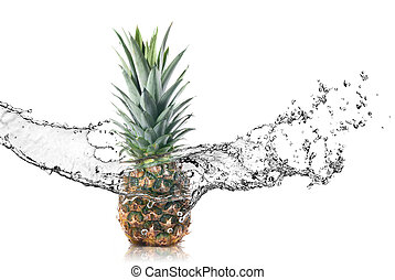 pineapple with water splash isolated on white