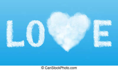 text and heart cloud in the blue sky - Love in the air...