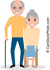 Vector elderly couple grandparents, aged people - Vector...
