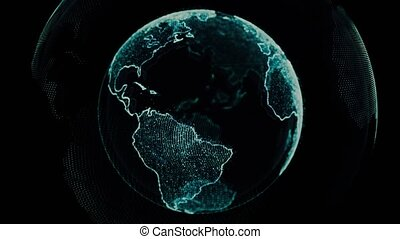 Earth rotating loop of rotating glowing dots stylised world globe with orbits