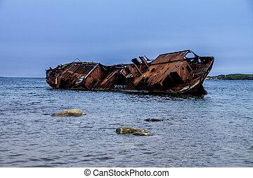 zatoka,  labrador, czerwony, katastrofa morska