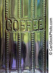 Embossed antique coffee jar