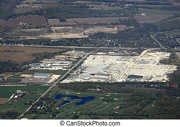 Utopia Ontario industrial area - aerial view of an...