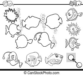 black and white activity for kids - Black and White Cartoon...