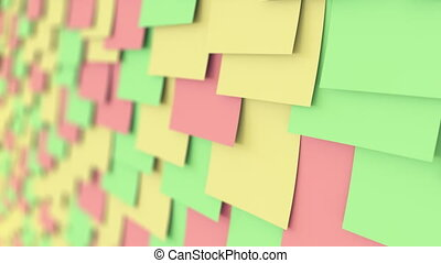 Colorful sticky notes on the board, shallow focus. Office...
