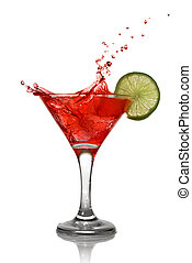 Red cocktail with splash and lime isolated on white