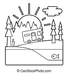 Trip by camper in forest concept, outline style - Trip by...